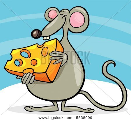 cartoon vector illustration of cheerful mouse with cheese piece poster
