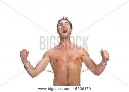 Young Muscular Man With A Chain Isolated On White