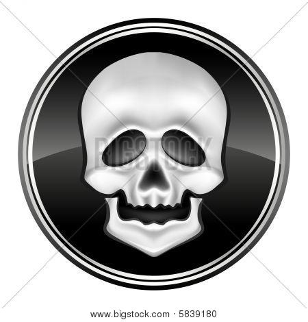 human skul icon on the black circle