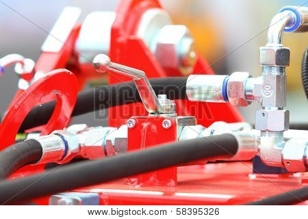 Hydraulic Connections Of A Machinery Industrial Detail
