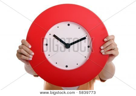 Holding red Clock on a white background poster