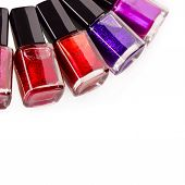 Nail polish isolated on white background. Cosmetics poster