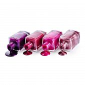 Purple nail polish isolated on white background poster