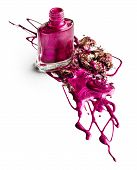 Blots of nail polish with crushed eye shadow over white background poster
