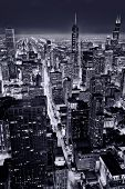 City of Chicago. Aerial view of Chicago downtown at nigh from high above. poster