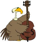 This illustration depicts a large brown bird playing a bass fiddle. poster
