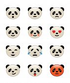 Panda bear emotion icons set. Vector icons. poster