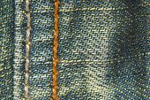close up of the jeans denim fabric seam texture poster