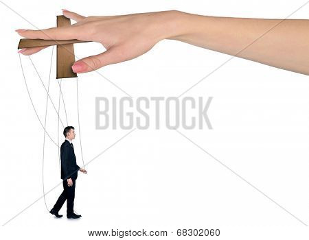 Isolated hand control business man