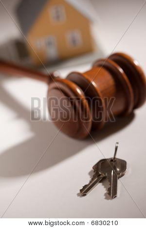 Gavel, House Keys And Model Home