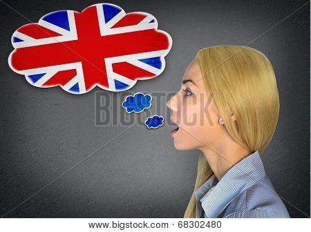 Woman speaking english in bubble