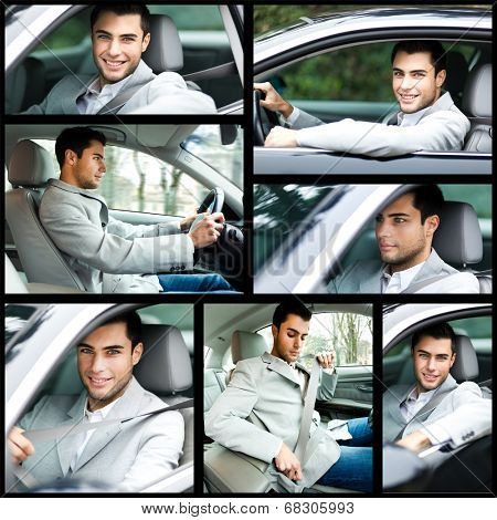 Collage of a man driving a car