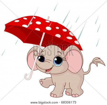 Illustration of cute funny baby elephant under umbrella  poster