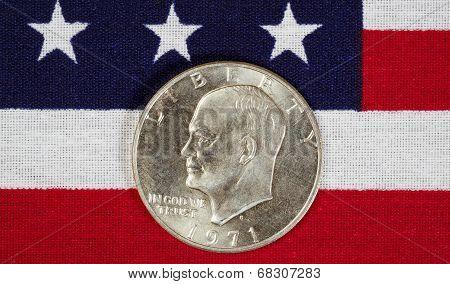 Eisenhower Silver Dollar On American Flag