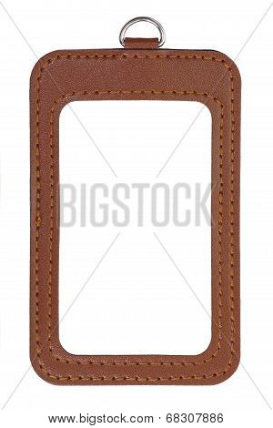 Brown leather id card holder on white