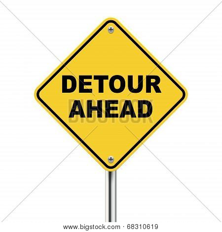 3D Illustration Of Yellow Roadsign Of Detour Ahead