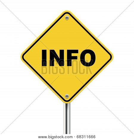 3D Illustration Of Yellow Roadsign Of Information