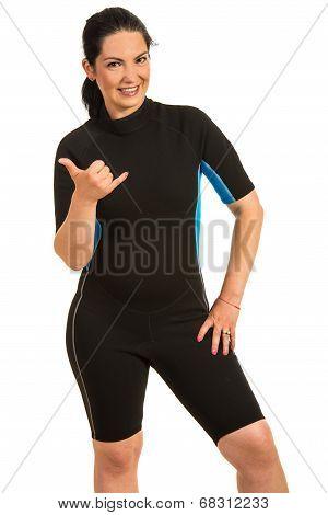 Surfer Woman Giving Hang Loose Sign
