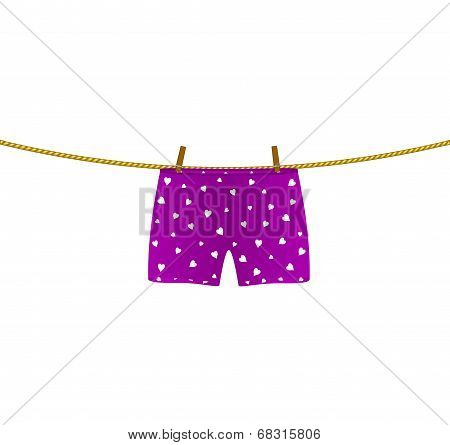 Boxer shorts with white hearts hanging on rope