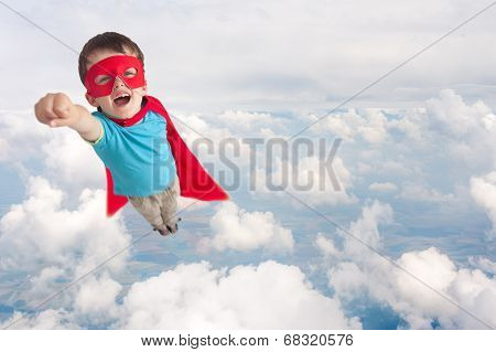 Superhero Child Boy Flying