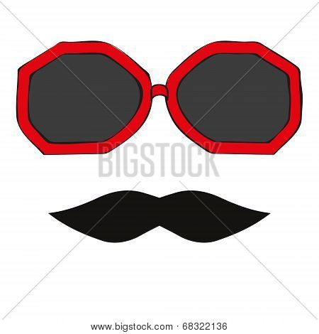 Seamless Glasses And Mustache