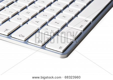 Angle of keyboard of the computer, isolated on white background