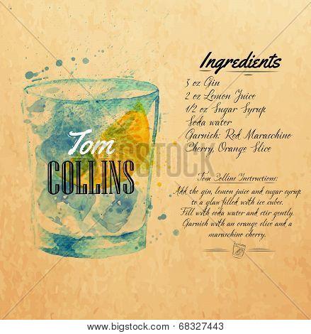 Tom Collins cocktails watercolor  kraft
