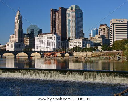 Columbus Ohio Waterfall Skyline