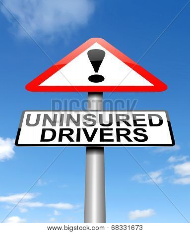 Illustration depicting a sign with an uninsured drivers concept. poster