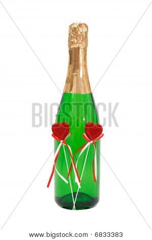 Bottle Effervescent Wine With Two Plush Red Hearts