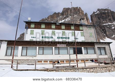 Alpine hut Refugio Auronzo of Dolomites alps