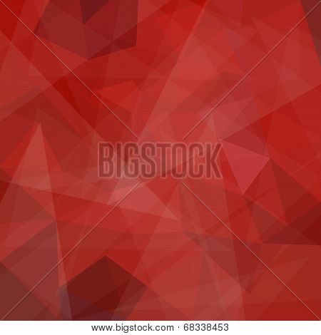Abstract red geometric pink background with triangular polygons, vector illustration poster