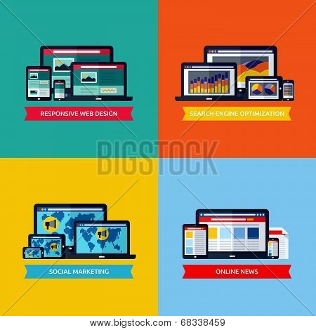 Modern Flat Vector Concepts Of Web Design, Seo, Social Media Marketing, Online News. Design Elements