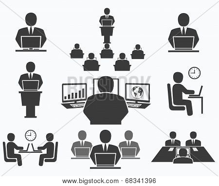 Business People. Office Icons, Conference, Computer Work