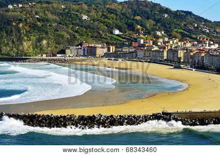 Zurriola Beach and Urumea River mouth in San Sebastian, Spain