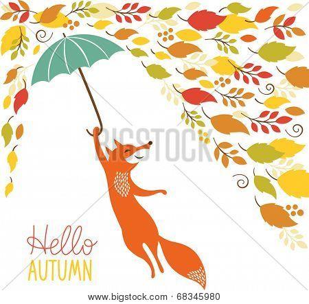 cute fox fly with umbrella