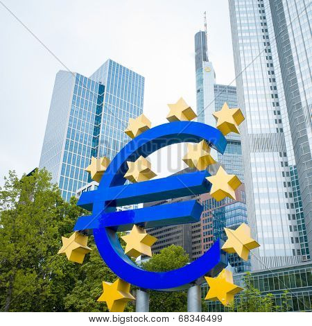 Frankfurt, Germany- July 11: Euro Sign. European Central Bank (ECB) is the central bank for the euro and administers the monetary policy of the Eurozone.July 11, 2014 in Frankfurt, Germany.