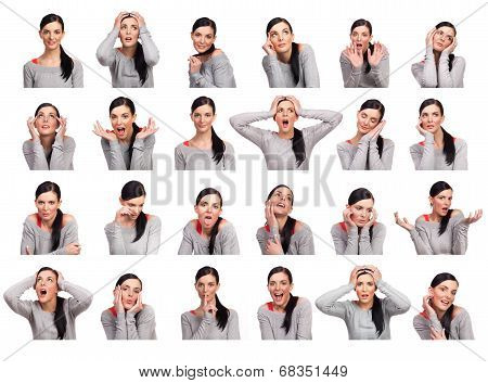 Young Woman Showing Several Expressions, Isolated