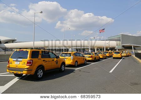 New York Taxi line next to JetBlue Terminal 5 at John F Kennedy International Airport in New York