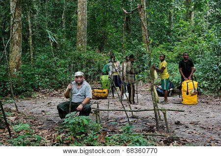 Traveller In Congo Jungle