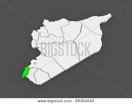 Map of Quneitra. Syria. 3d
