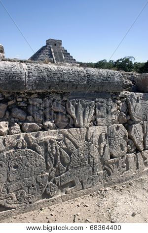 Maya Hieroglyphs With The Great Pyramid In The Background Kukulcan In Chichen Itza