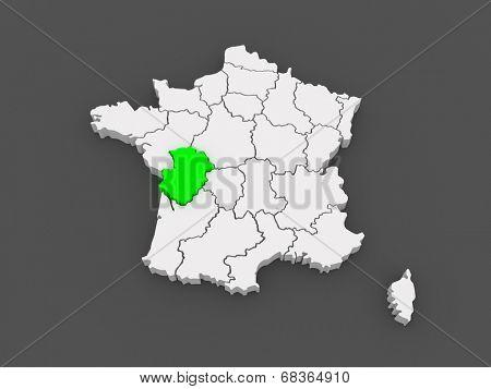Map of Poitou - Charentes. France. 3d