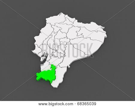 Map of Loja. Ecuador. 3d