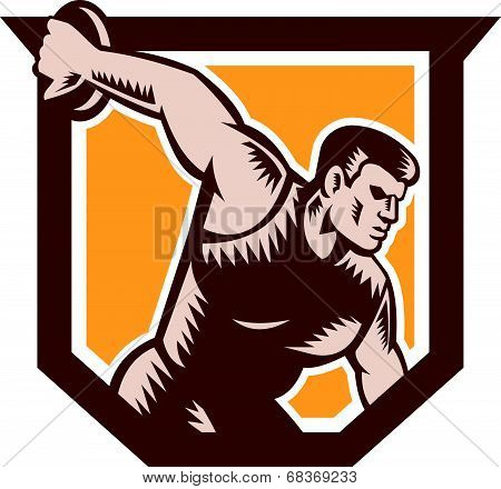 Discus Thrower Shield Woodcut