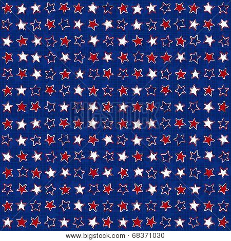 White red blue stars in messy horizontal rows on dark blue background seasonal holiday patriotic american seamless pattern poster