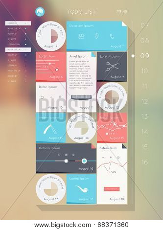 Reminder interface. Flat UI design. Vector eps 10. Todo list.