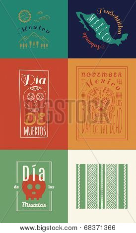 Mexican set Insignias | Day of the Dead (Spanish: Dia de Muertos) poster