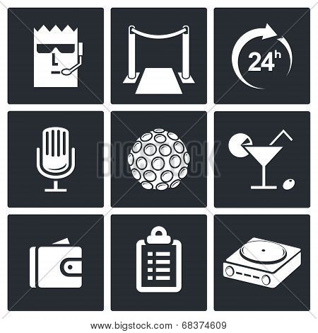 Night Club icon collection on a black background poster