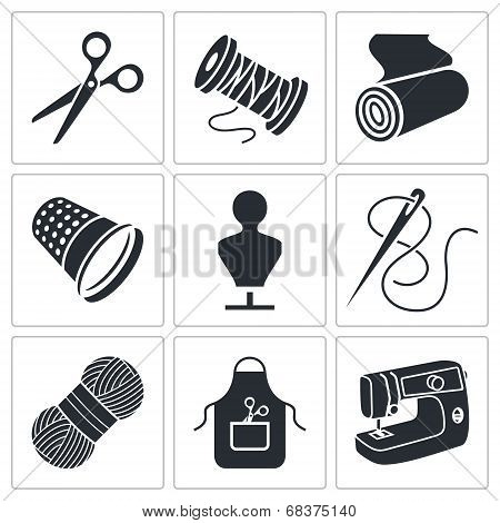 Sewing Clothing Manufacture Icons Set